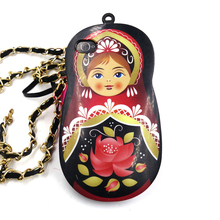 2017 Fashion cartoon sexy girl russian dolls rose lotus flower apron carriage chain bag soft tpu cell phones case For Iphone4 4s