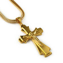 Hip Hop Rapper JESUS Christ Cross Pendants Necklace Men Yellow Gold Filled Chain Male Christian Jewelry Chain