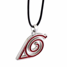 HSIC 10pcs/lot Anime Naruto Necklace Naruto Leaf Village Symbol Cosplay Necklace PU Black Rope Chain Chocker Necklace for Fans