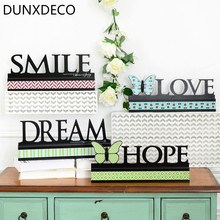 DUNXDECO Retro Style Butterfly Words LOVE SMILE DREAM HOPE Wooden Craft Home Store Table Decoration Craft Photo Prop