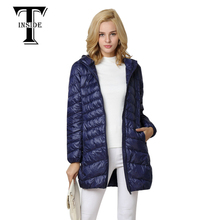 T-INSIDE Down Jacket Hooded Winter Duck Down Jackets Women Slim Long Sleeve Parka Zipper Coats Pockets Solid Women Ultra Light