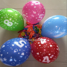 50pcs/lot  printing balloon  Round Balloon Full Printed number 12inch birthday marriage party decoration balloon