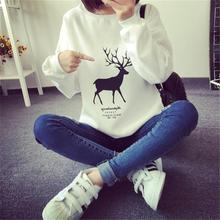 Autumn Deer Printed Sweatshirt  Lovers Harajuku Kawaii Hoodies Women tracksuit Design Long Sleeve Ladies  Female Hoodies