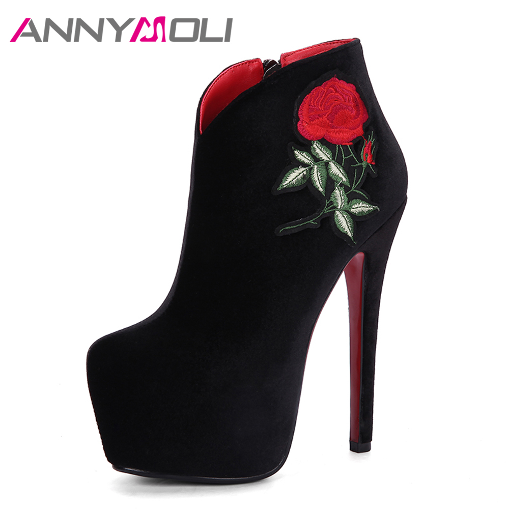 ANNYMOLI Women Boots Winter Embroider Ankle Boots Velvet Platform Extreme High Heels Boots Zip Red Chinese Bridal Shoes Black<br>