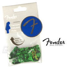 Fender 351 Shape Classic Celluloid Picks Plectra Mediators - Green Moto(12 pack)(China)