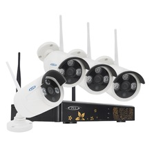 PLV 4CH 720P HD Outdoor 1920*720 IR Night Vision Video Surveillance Security 4pcs IP Camera WIFI CCTV System Wireless NVR Kit