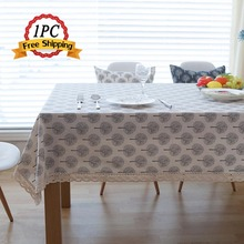 Home Decoration Attractive Vintage Pattern Tablecloth European Table Covers Multi Functional Event Cotton Line Lace Table Cloth(China)