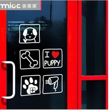 Free shipping Pet shop Glass stickers pet set decoration glass door stickers cat dog wall door decals(China)