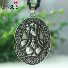 lanseis 1pcs norse god Valkyrie Freya Norse Pendant viking women necklace pendant Viking Runes Vegvisir Compass men Pendant(China)