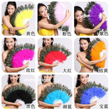 wholesale 6pcs natural peacock Feather Fan for Belly Dance Halloween Party Ornament Necessary 28 Bones Fan stage performance
