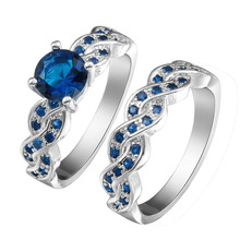 DOULAIMEI Real 925 Sterling Silver Ocean Ble Created Gemstone Finger Ring Bridal Women GFriend Goddess Lover Fine Jewelry Gift
