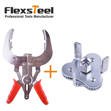 Auto Vehicle Car Repairs Tools Adjuestable Piston Ring Expander Pliers Install Remover+Two Way Oil Filter Wrench Tool with 3 Jaw