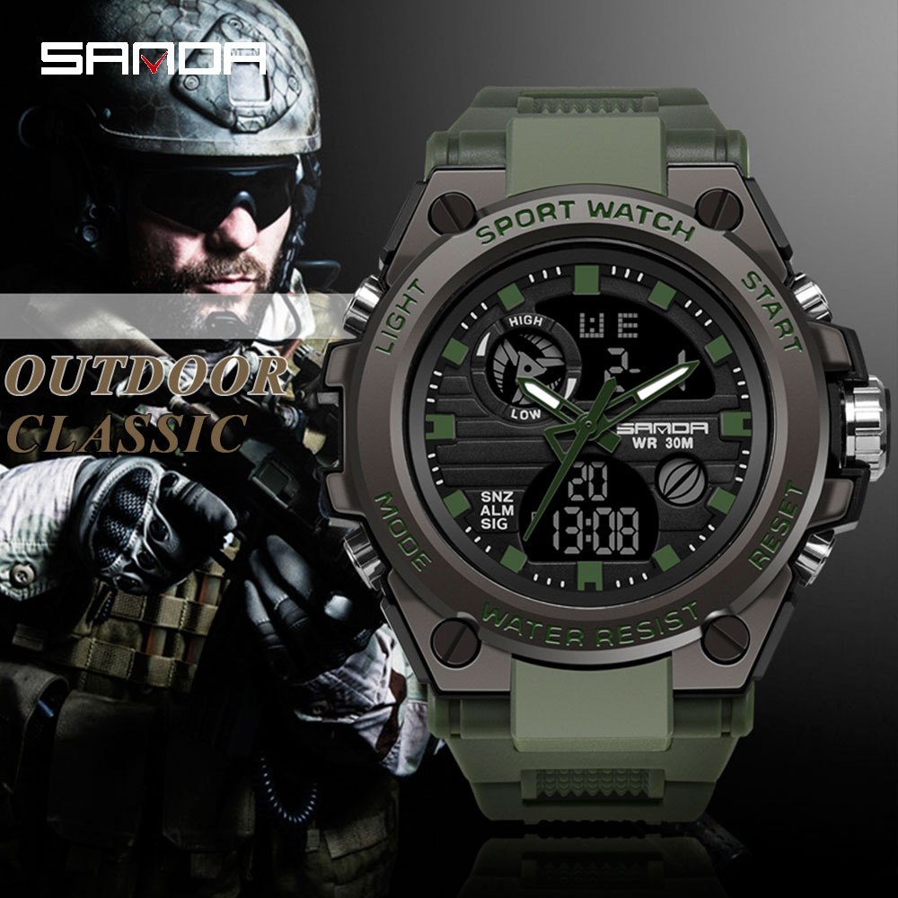 SANDA Sports Watches G-Style Digital Military Waterproof Electronic Fashion Brand Men title=