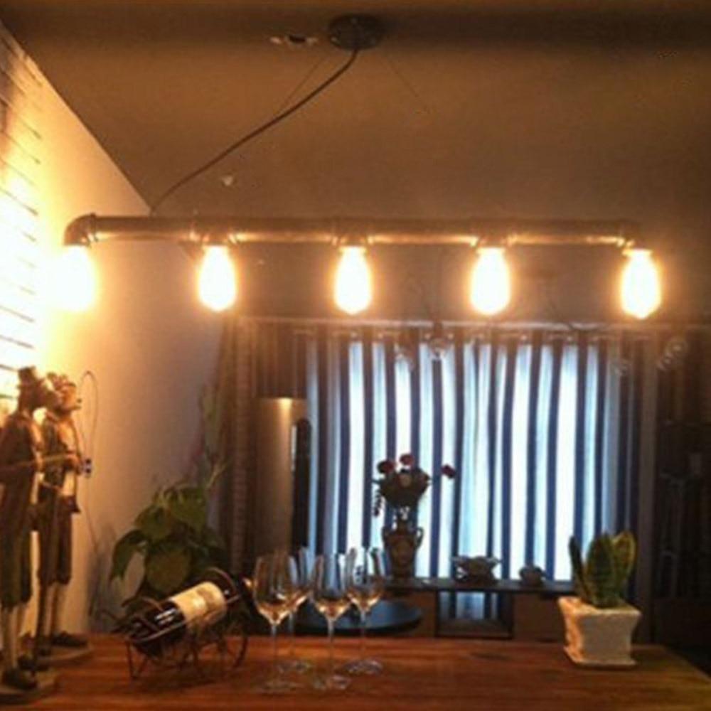 Nordic Retro Steampunk Water Iron Pipe Pendant Lamp Eseven Chandelier Rustic Steampunk Edison Light