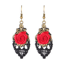 Handmade Lolita Red Flower Rose Black Drop Lace Dangle Gothic Alloy Earrings11.7(China)