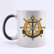 Anchor and Helm Unique Custom Coffee Mug Novel Mugs Color Change Ceramic Cup Water Office Beer Cups 11 OZ Two Sides Printed(China)