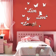 3D Live Laugh Love DIY Mural Removable Wall Mirror Sticker Decals Home Living Bed Room Decor(China)