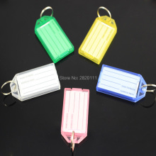 100Pcs Blank Plastic Keychains Rectangle luggage tag Insert Photo Keyrings key card number-Free Shipping(China)