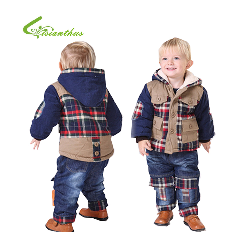 Boys Winter Thick Cotton Padded Jacket Suit 2017 New Childrens Plus Velvet Plaid Stitching Hooded Clothing Sets Pant And Coat <br>