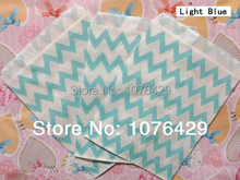 50 Pcs/2 Pack Light Blue Chevron Striped Treat Craft Bags Favor Food Paper Bags Party Wedding Birthday Decoration Color 9