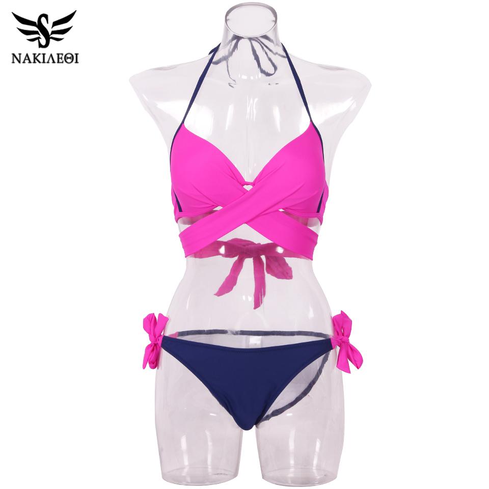 NAKIAEOI 19 Sexy Bikini Women Swimsuit Push Up Swimwear Criss Cross Bandage Halter Bikini Set Beach Bathing Suit Swim Wear XXL 66