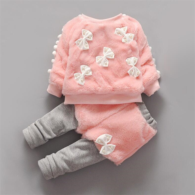 2pcs/set fashion baby girl clothing sets cute bowknot pearl faux fur infant toddler clothing sets for aurumn winter 2 colors<br><br>Aliexpress