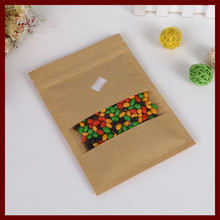 12*20 30pcs brown self zip lock kraft paper bags with window for gifts sweets and candy food tea jewelry retail package paper