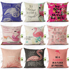 Zipper Top Quality  Zipper flamencos Textile Red Flamingo Square Throw Pillow 45Cmx45Cm Square Sofa Printed Cushion Cover