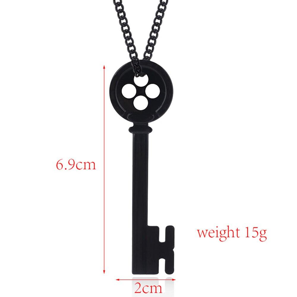RJ 2018 Movie Coraline Necklace Pendants Black Button Key Skull ...