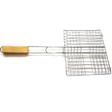 Good Quality New Stainless Steel  BBQ 2 Fish Grilling Basket Roast Folder Tool with Wooden Handle Outdoor Barbecue Mesh