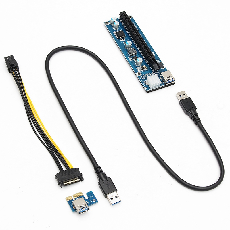 4PCS USB3.0 PCI-E 1x To16x Extender Riser Card Adapter Power Cable For ETH GPU Mining SATA 15pin Male to 6pin Power Cable<br>