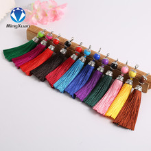 5PC Mix color Silk Tassel Acrylic Beads Cap Charm for Jewelry Findings Bags Moblie Making Mob Straps Keychain