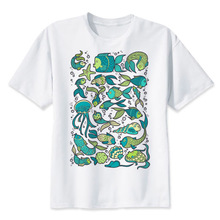 fish clothes wow T Shirt men Summer fashion High Quality t-shirt casual white print O-Neck print male men top tees MR2414(China)