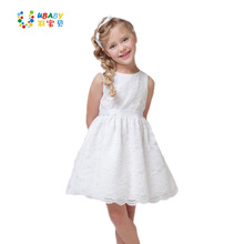 2017 SUMMER NEW children clothes girls beautiful lace dress quality white baby girls dress teenager kids dress for age 2-12(China)
