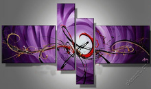 Purple mood Dafen Oil painting decorative of modern fashion home furnishing Frameless living room four together sets of abstract(China)