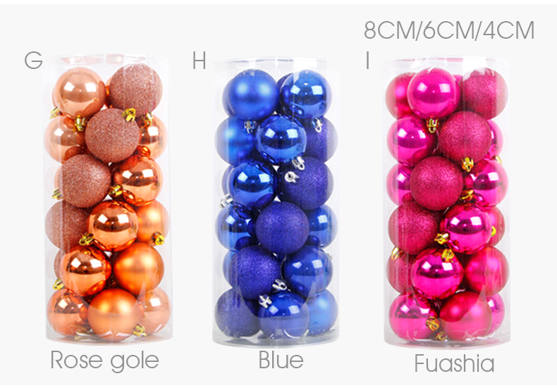06 inhoo 24PCSset Christmas ornament 468cm Christmas Tree Balls Baubles Xmas for Home Party Colorful Wedding Decoration Supplies