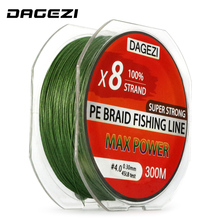 DAGEZI 8 strand 300m/330YDS With Gift Super Strong 10-80LB brand fishing lines 100% PE Braided Fishing Line smooth line(China)