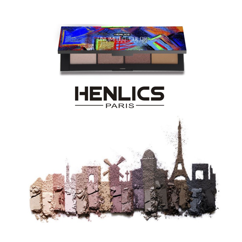 France HENLICS Brand 4 Colors Eyeshadow Palette Glamorous Smokey Eye Shadow Shimmer Colors Makeup Eyeshadow Palette (18)