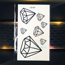 1PC Fashion Crystal Diamond Design Temporary Tattoo Sticker PAQ-003 Children Gifts Waterproof Tattoo Paste Black Navy Blue Tatto(China)
