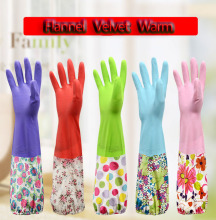Velvet Lining Latex Winter Warm Long Sleeve latex Kitchen Wash Dishes Dish washing Gloves Household House Cleaning DROP(China)