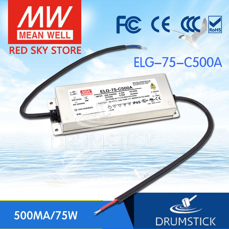 100% Original MEAN WELL ELG-75-C500A 158V 500mA meanwell ELG-75 75W Single Output LED Driver Power Supply A type [Real6]<br>