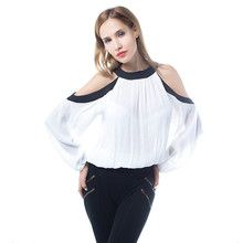 Summer New Women Casual Sexy O-neck White Off The Shoulder Chiffon Blouses & Shirts Tops Long Sleeve Black Mixed White OL Shirts