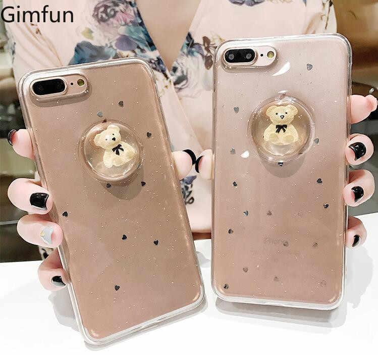 Gimfun Luxury 3D Cartoon Bear Liquid Ball Phone Case for Iphone 7 6s 6 8  Plus 808d6d6c9fe8