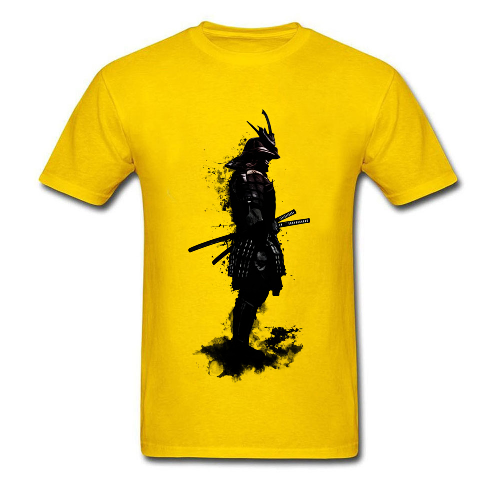 Armored Samurai Simple Style Tees Short Sleeve for Men 100% Cotton Fabric ostern Day O Neck Top T-shirts Design T Shirt Hip Hop Armored Samurai yellow