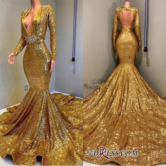 Babyonline Deep V-Neck Mermaid Gold Prom Dresses 2019 Full Sequined Long Sleeves Party Dresses Evening Gown Vestido de festa