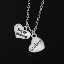 Buy Bespmosp Fashion Crystal Heart Brother Pendant Necklace Family Choker Chain Men Jewelry Children Birthday Gifts Collier Party for $1.07 in AliExpress store