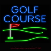 Neon Sign Golf Course Flag Real Glass Tube Handcrafted neon signs Custom Sports Neon Lamp Recreation Windows Signs 31x24(China)