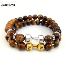 GVUSMIL New Arrival Men Barbell Jewelry Retail 8mm tiger eye Stone Beads Energy Fitness Fashion Dumbbell Bracelets(China)