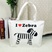 2017 new canvas cartoon printing zebra handbags tote animal prints girl casual women zipper shopping bag(China)