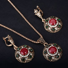 Luxury Turkey Jewelry Sets Vintage Necklace Earrings Set Plating Antique Gold-Color Unique Green Crystal lucky Gift For Women